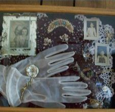 shadow box vintage ladies gloves, pictures with odds and ends