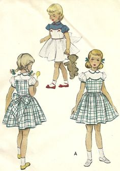 1951 pattern from McCall's for a girl's dress with a contrast yoke, full skirt, puff sleeves, collar, and wide tie belt. Would be an adorable party Vintage Kids Clothes, Vintage Girls Dresses, Vintage Dolls, Vintage Children, Vintage Outfits, Vintage Fashion, Childrens Sewing Patterns, Kids Patterns, Doll Clothes Patterns