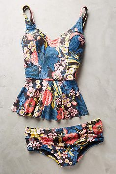 Scoop-Back Peplum Tankini - anthropologie.com