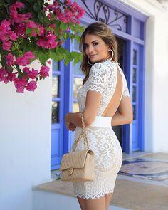 {White ✨} Vestido de renda com fundo nude ♥️ White Skirt Outfits, Sexy Outfits, Dress Outfits, Fashion Dresses, Elegant Dresses, Cute Dresses, Casual Dresses, Short Dresses, Shower Dress For Bride