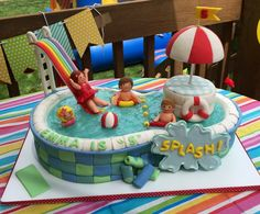 Kid's Birthday Cakes Strawberry Cake with buttercream filling and frosting. Pool Birthday Cakes, Pool Party Cakes, Pool Cake, Adult Birthday Cakes, 9th Birthday, Swimming Cake, Rodjendanske Torte, Fantasy Cake, Beach Cakes