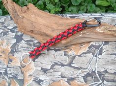 Paracord Lanyard Keychain  Black and Red Hearts  by ACORDING2MACEY