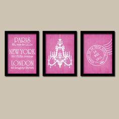 Paris London New York Chandelier Pink Artwork Set of 3 Trio Prints Wall Art Decor Abstract Picture Silhouette Bathroom Bedroom. $30.00, via Etsy.