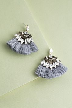 Cadence Fringe Earrings | Gray $14 // Get swept away in the elegance of these fringe statement earrings. A mix of elements makes this a perfect piece to dress up your favorite outfit for date night.