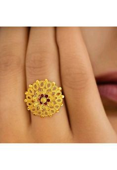 Tanishq Yellow Gold Finger Ring with Floral Design