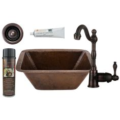 Premier Copper Products Square Bar/Prep Sink, Faucet and Accessories Package. This package includes a square hammered copper sink, single handle faucet, strainer drain, wax/cleaner and installation silicone. Copper Bar, Hammered Copper, Prep Sink, Basin Design, Bar Sink, Brass Faucet, Bowl, A 17, Stores