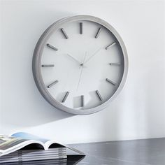 Crate & Barrel Huxley Wall Clock ($90) ❤ liked on Polyvore featuring home, home decor, clocks, white wall clock, white home decor, crate and barrel, minimal home decor and minimalist home decor