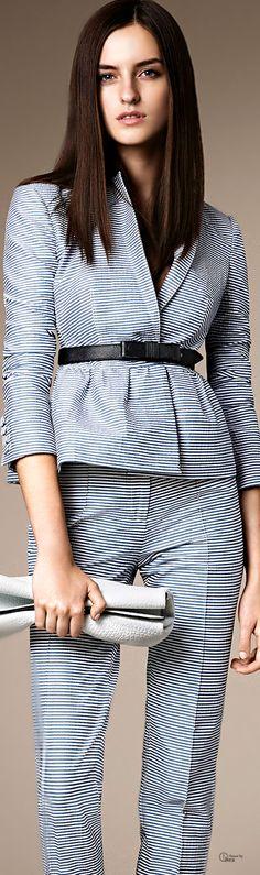 Burberry London ● SS 2014, Peplum Tailored Seersucker Suit