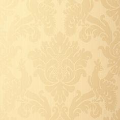 Valette Strie Damask | 5003660 in Champagne | Schumacher Wallcoverings