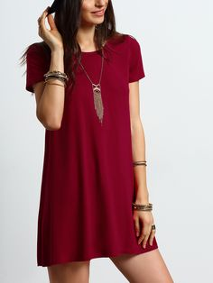 Shop Burgundy Short Sleeve Casual Shift Dress online. SheIn offers Burgundy Short Sleeve Casual Shift Dress & more to fit your fashionable needs.