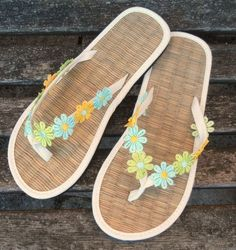 130c15a67 Hand Decorated Straw Flip Flops ideal to match a special outfit or for a  wedding