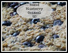 Baked Blueberry Oatmeal (THM-E) Ingredients: Serves 8     6 cups old fashioned oats     2½ Tbs THM Sweet Blend or double that if you use Truvia     ½ cup unsweetened applesauce     4 cups unsweetened almond milk     1½ tsp baking powder     ⅓ cup 0% Greek yogurt     2 cups blueberries     1 tsp vanilla     ½ cup egg whites     1 tsp cinnamon     pinch of clove     2½ Tbs chia seeds