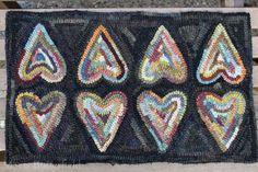 Primitive Hooked Rug Old Heart Valentine Hit and Miss ~ Folk Art ~ #NaivePrimitive #MavisButterfield