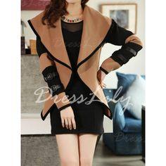 Stylish Turn-Down Collar Color Block Long Sleeve Coat For Women