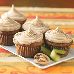 Yummy zucchini cupcakes and delicious caramel frosting.