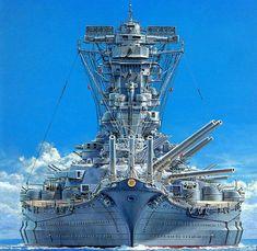 IJN Yamato, the Absolute Unit of Battleships Naval History, Military History, World Of Warships Wallpaper, Poder Naval, Yamato Battleship, Imperial Japanese Navy, Us Navy Ships, Abandoned Ships, Ship Art