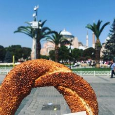 Simit street food in Istanbul in front of the Hagia Sophia Istanbul Tours, Istanbul Travel, Turkey Vacation, Turkey Travel, Turkey Photos, Best Street Food, Hagia Sophia, Creative Instagram Stories, Travel Aesthetic