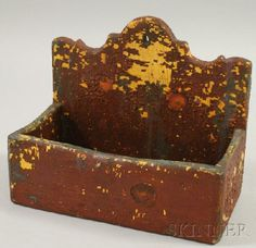 Small Painted Wooden Wall Box, wd. 10 in.