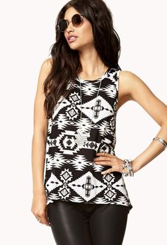 Tribal Print High-Low Tank https://picvpic.com/women-tops-tanks/tribal-print-high-low-tank#black~cream?ref=QA8LwA