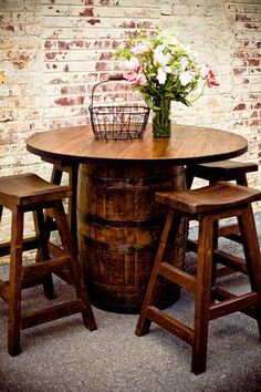 Whiskey Barrel Pub Table - Southern Heritage Woodworks.... whiskey/wine barrel small circular kitchen/breakfast table