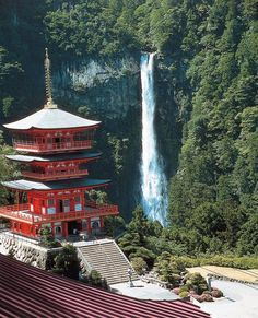 Kumano Jinja and Nachi(no-Taki) waterfall, Wakayama Prefecture, Japan. With a drop of at 133 m, the Nachi is the tallest (Hannoki Falls is the tallest, at 497 m) waterfall in Japan. (Feb 'Nippon no-' Power Sports Calender) Photo Japon, Japan Photo, Temples, Places To Travel, Places To See, Places Around The World, Around The Worlds, Beautiful World, Beautiful Places