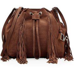 Diane von Furstenberg Suede Bucket Bag ($329) ❤ liked on Polyvore featuring bags, handbags, shoulder bags, purses, borse, brown, man shoulder bag, shoulder handbags, brown suede purse and bucket bags