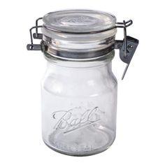 Ball Glass Sure Seal Mason Jar, Wire Bail Lid, 38 Ounces, Size: 38 fl oz, Multi-color Glass Spice Jars, Glass Storage Jars, Food Storage Containers, Jar Storage, Kitchen Storage, Storage Baskets, Storage Ideas, Storage Design, Storage Rack