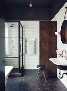 Hex Pattern - Modern Industrial - Bathroom Design - Black White - Mosaic Tile