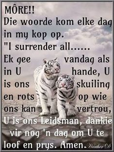 Gee als oor aan God Evening Greetings, Good Morning Greetings, Good Morning Good Night, Good Night Quotes, Good Morning Wishes, I Surrender All, Lekker Dag, Afrikaanse Quotes, Goeie More