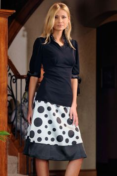 Random polka-dot skirt with boarder. Also a color and white medium to bold striped boarder looks great! (Saw it at church)