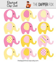 Pink and Yellow Elephant Clip Art  INSTANT by TheDapperFoxScraps