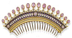 Pink Topaz, Enamel, and Gold Tiara Comb, c.1840