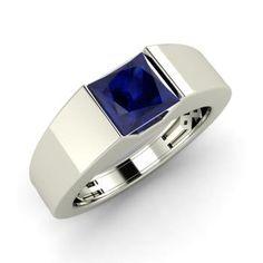 Princess-Cut Sapphire Men's Ring in Platinum