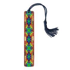 Tie Dye Sky Kaleidoscope   Wooden Bookmarks - unusual diy cyo customize special gift
