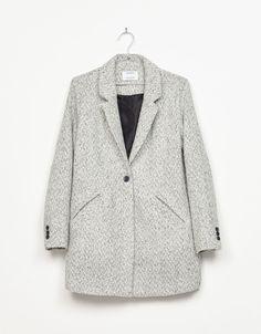 40€       Abrigo espiga corte masculino - Abrigos y chaquetas - Bershka España