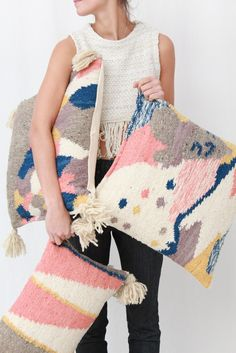 """Handwoven on a pedal loom by skilled artisans in Totonicapan, Guatemala. Made of 100% wool, with a cotton backing. Invisible zip enclosure. 20"""" x 20"""" Insert included"""