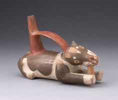 Tiwanaku-Wari South coast, Bolivia Single Spout and Bridge Vessel in the Form of a Dog Gnawing a Bone, A. Old Best Friends, Bolivia, Inca, Clay Animals, Art Institute Of Chicago, Hunting Dogs, Animal Sculptures, Working Dogs, I Love Dogs