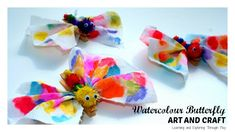 Watercolour Painting Process Art used to create a beautiful, colourful butterfly craft.