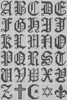 Filet Crochet Alphabet Script Chart
