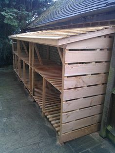 Log Store love love this be perfect for chickens and could use white color beddi. Log Store love l Outdoor Firewood Rack, Firewood Shed, Firewood Storage, Wood Storage Sheds, Lumber Storage, Log Shed, Backyard Sheds, Lean To, Building A Shed
