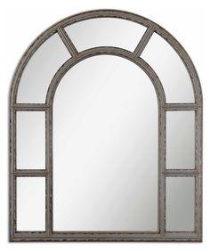 Lynwood Distressed Gray & Walnut Arch Mirror - 39.375W x 47.25H in. - Wall Mirrors at Hayneedle