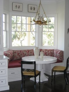 This in the nook...ONE DAY! Love the built-in bench.
