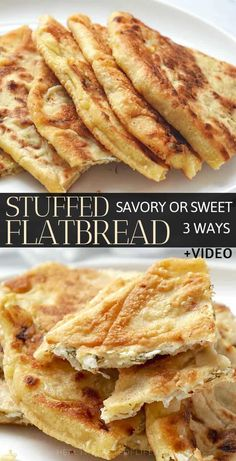 Stuffed Flatbread Recipes: Potato, Cheese Or Sour Cherries This homemade stuffed flatbread recipe makes crisp as well as soft golden brown flatbread stuffed with potato (vegan option), cheese filling or sweet filling (apples and. Real Food Recipes, Vegetarian Recipes, Cooking Recipes, Yummy Food, Party Food Recipes, Appetizer Recipes, Dinner Recipes, Savoury Baking, Snacks Für Party