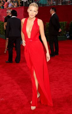 Buy Tailor-Made Blake Lively Sexy Hot Red Dress 2009 Emmy Awards Red  Chiffon Celebrity Dress With Slits! b8288d49e8e1