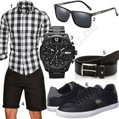 Sommerliches Herrenoutfit mit Hemd, Shorts und Sonnenbrille