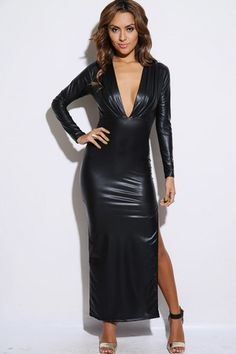 Faux Leather Maxi Evening Dress $45.00