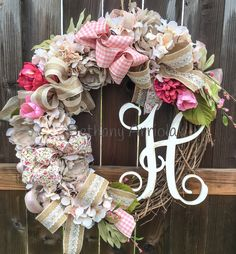 2016 Cottage chic farmhouse peonies and hydrangeas floral ribbon wreath with Vine monogrammed wood letter.