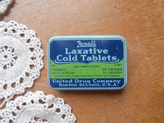 Vintage Rexall Laxative Cold Tablets Tin by bettyrayvintage
