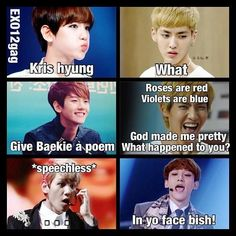 If you love K-pop Memes as much as I do then here is a good place to check out some funny ones and maybe add some of your own! You can make great friends and share your love for K-pop ! Exo Memes, Kdrama Memes, Funny Kpop Memes, Funny Quotes, Kpop Exo, K Pop, Chanyeol Baekhyun, Xiuchen, Exo Ot12