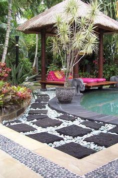 55 Gorgeous Rock Pathway Design Ideas To Enhance Your Beautiful Garden 40 Bali Garden, Balinese Garden, Garden Gazebo, Patio Tropical, Tropical Gardens, Diy Jardin, Rock Pathway, Bali Huts, Garden Inspiration